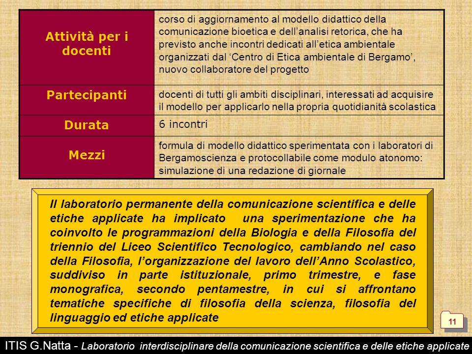 ITIS G.Natta - Laboratorio interdisciplinare della comunicazione scientifica e delle etiche applicate Attività per i docenti corso di aggiornamento al