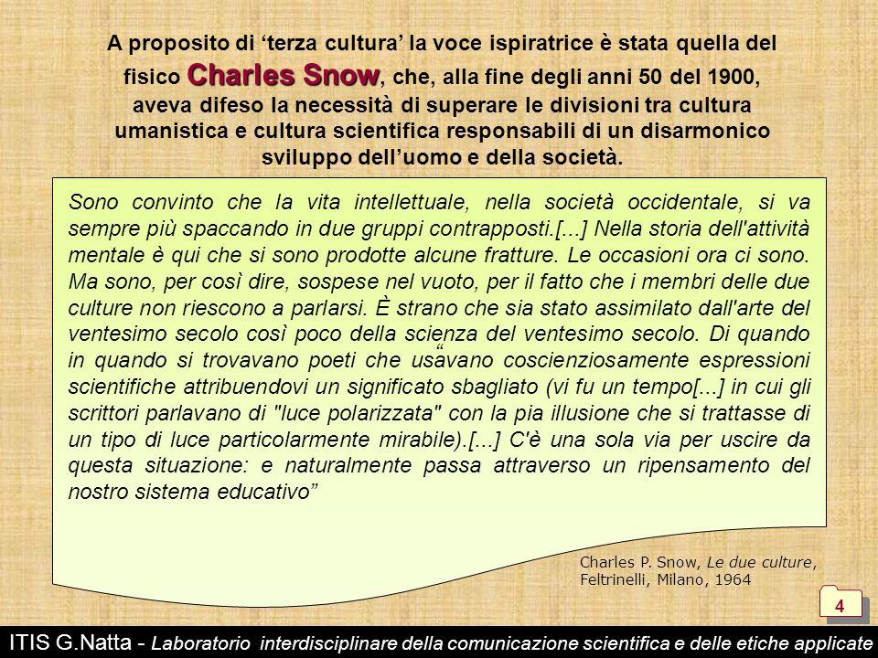ITIS G.Natta - Laboratorio interdisciplinare della comunicazione scientifica e delle etiche applicate 4 4 Charles Snow A proposito di terza cultura la