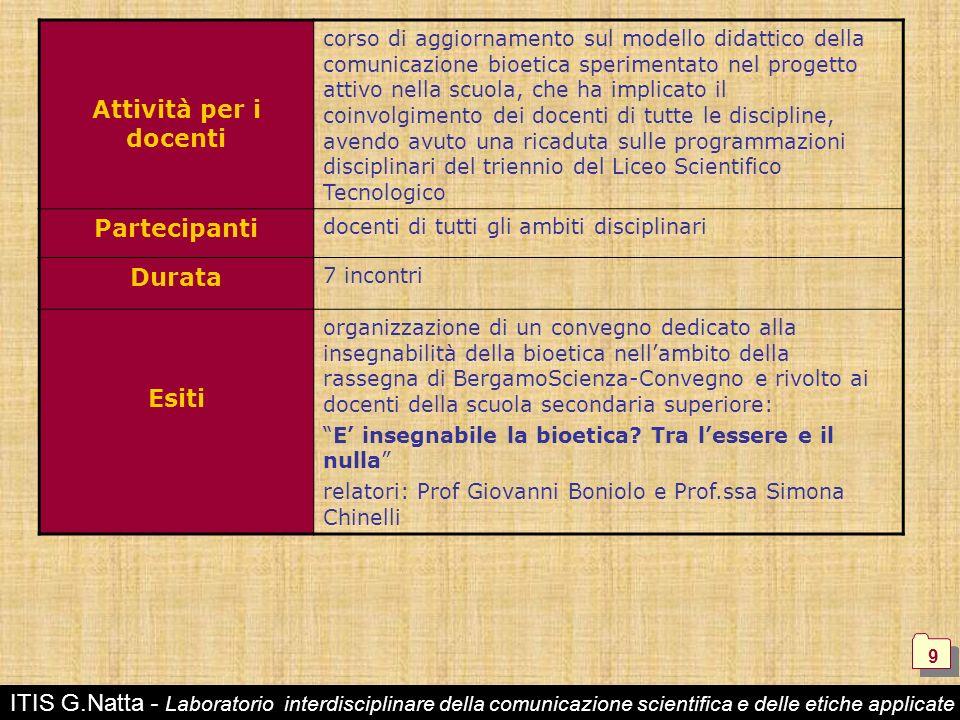 ITIS G.Natta - Laboratorio interdisciplinare della comunicazione scientifica e delle etiche applicate 9 9 Attività per i docenti corso di aggiornament