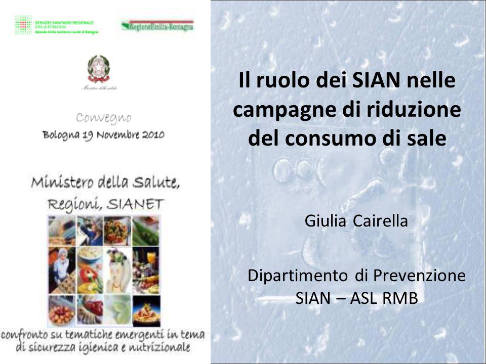 Il ruolo dei SIAN nelle campagne di riduzione del consumo di sale Giulia Cairella Dipartimento di Prevenzione SIAN – ASL RMB