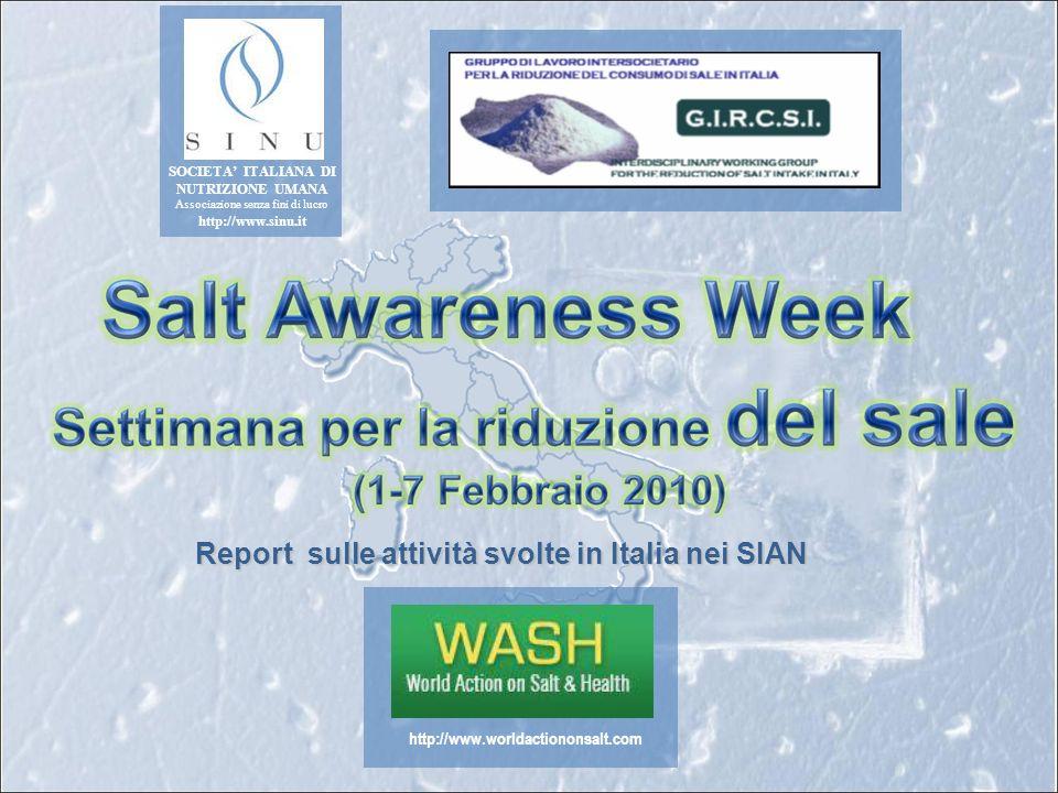 Report sulle attività svolte in Italia nei SIAN http://www.worldactiononsalt.com SOCIETA ITALIANA DI NUTRIZIONE UMANA Associazione senza fini di lucro http://www.sinu.it