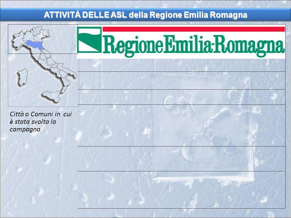 ATTIVITÀ DELLE ASL della Regione Emilia Romagna Città o Comuni in cui è stata svolta la campagna