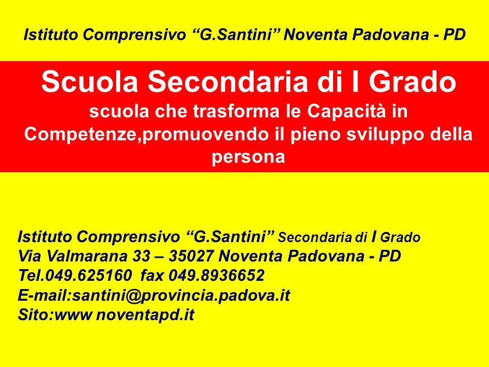 Scuola Secondaria di I Grado scuola che trasforma le Capacità in Competenze,promuovendo il pieno sviluppo della persona Istituto Comprensivo G.Santini