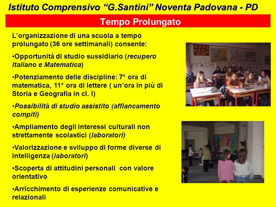 Tempo Prolungato Lorganizzazione di una scuola a tempo prolungato (36 ore settimanali) consente: Opportunità di studio sussidiario (recupero Italiano