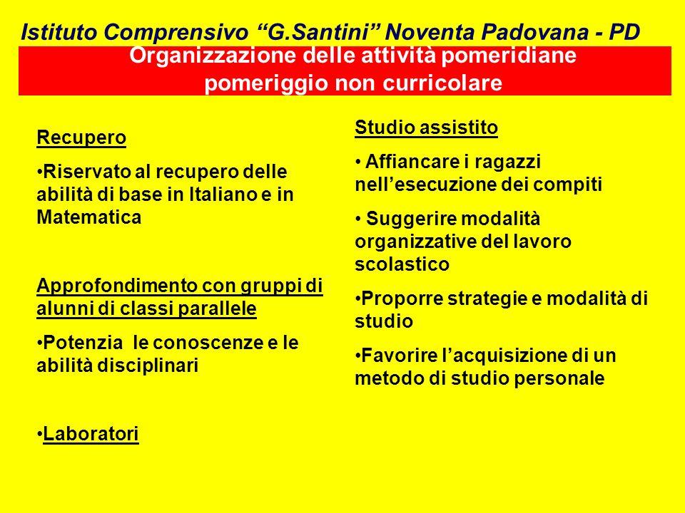 Organizzazione delle attività pomeridiane pomeriggio non curricolare Recupero Riservato al recupero delle abilità di base in Italiano e in Matematica