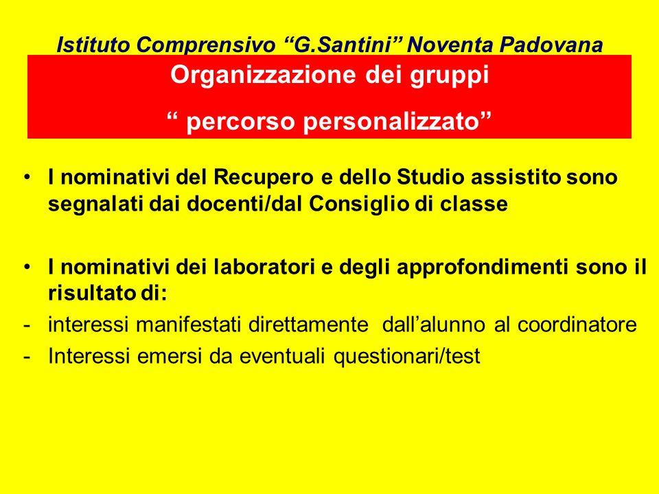 Istituto Comprensivo G.Santini Noventa Padovana I nominativi del Recupero e dello Studio assistito sono segnalati dai docenti/dal Consiglio di classe