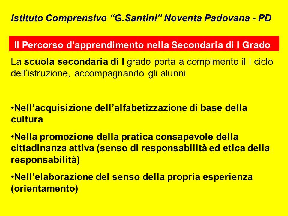 Il Percorso dapprendimento nella Secondaria di I Grado Istituto Comprensivo G.Santini Noventa Padovana - PD La scuola secondaria di I grado porta a co