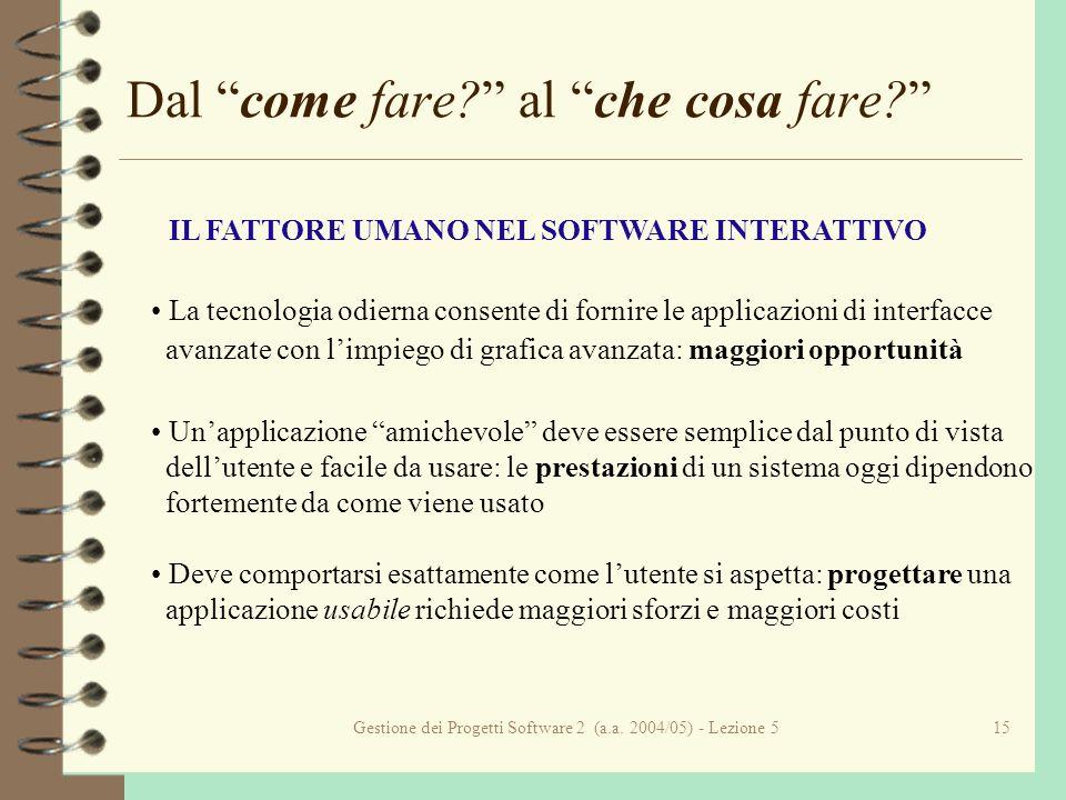 Gestione dei Progetti Software 2 (a.a. 2004/05) - Lezione 515 Dal come fare.