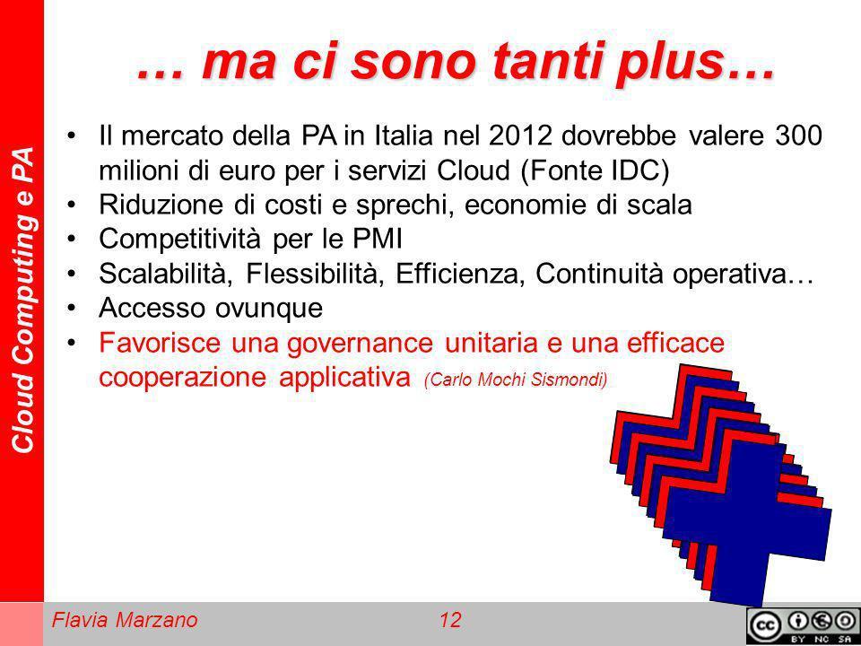 Cloud Computing e PA Flavia Marzano 12 … ma ci sono tanti plus… Il mercato della PA in Italia nel 2012 dovrebbe valere 300 milioni di euro per i servi