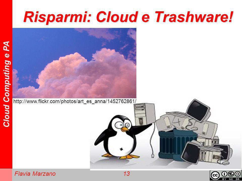 Cloud Computing e PA Flavia Marzano 13 Risparmi: Cloud e Trashware! http://www.flickr.com/photos/art_es_anna/1452762861/