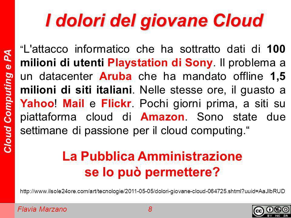 Cloud Computing e PA Flavia Marzano 8 I dolori del giovane Cloud L'attacco informatico che ha sottratto dati di 100 milioni di utenti Playstation di S
