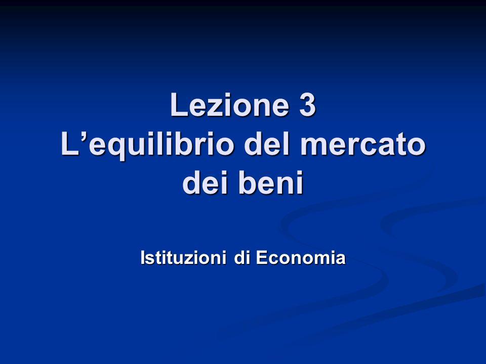 Lezione 3 Lequilibrio del mercato dei beni Istituzioni di Economia