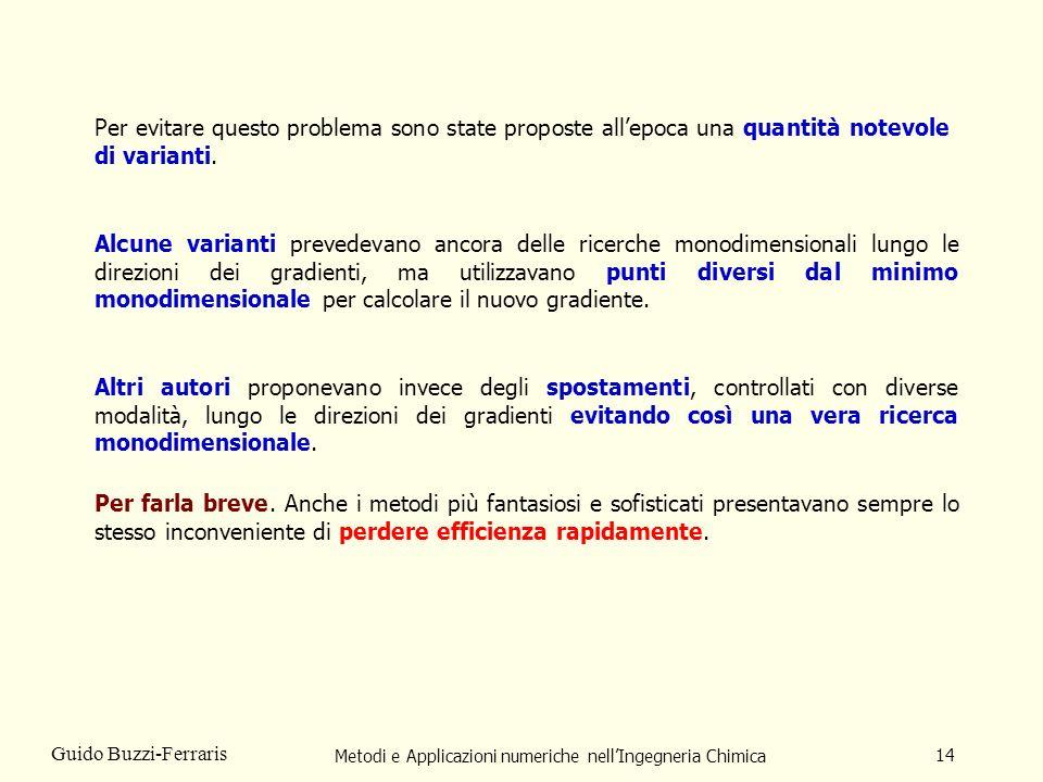 Metodi e Applicazioni numeriche nellIngegneria Chimica 14 Guido Buzzi-Ferraris Per evitare questo problema sono state proposte allepoca una quantità n