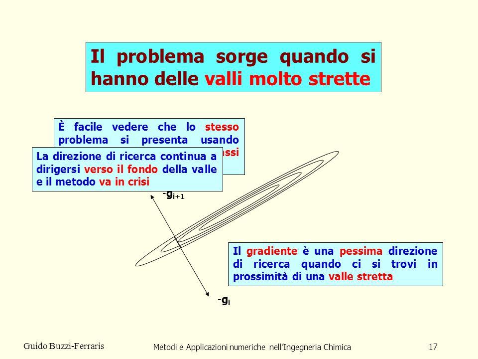 Metodi e Applicazioni numeriche nellIngegneria Chimica 17 Guido Buzzi-Ferraris Il problema sorge quando si hanno delle valli molto strette -gi-gi Il g