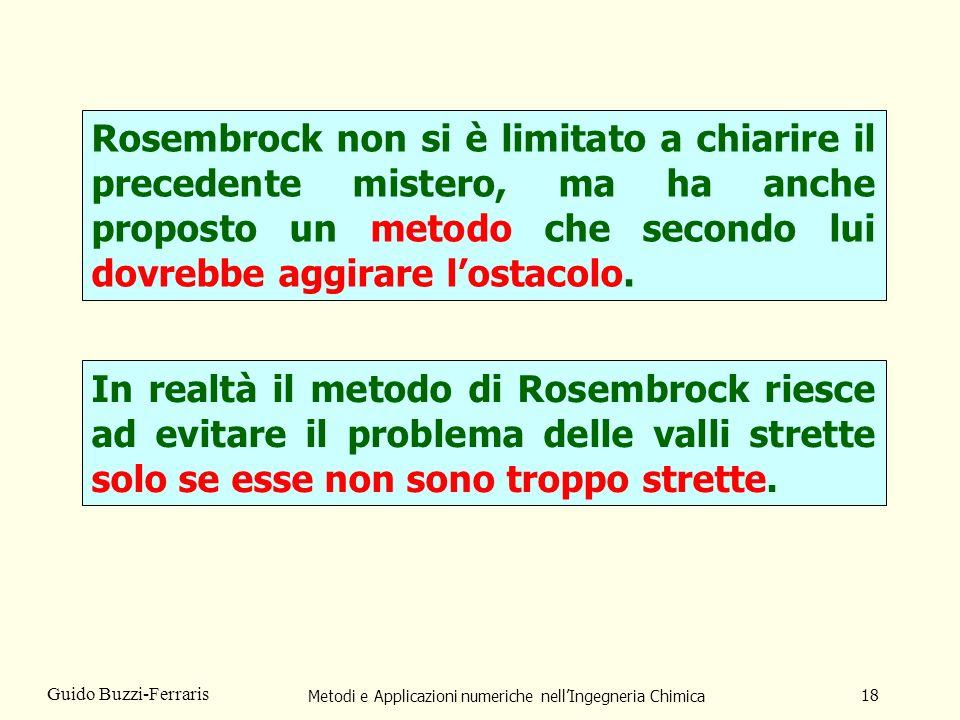 Metodi e Applicazioni numeriche nellIngegneria Chimica 18 Guido Buzzi-Ferraris Rosembrock non si è limitato a chiarire il precedente mistero, ma ha an
