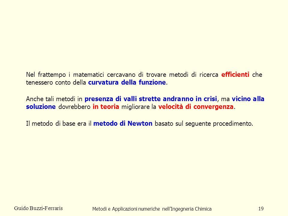 Metodi e Applicazioni numeriche nellIngegneria Chimica 19 Guido Buzzi-Ferraris Nel frattempo i matematici cercavano di trovare metodi di ricerca effic