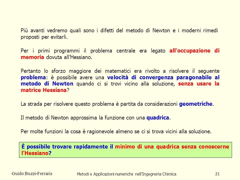 Metodi e Applicazioni numeriche nellIngegneria Chimica 21 Guido Buzzi-Ferraris Più avanti vedremo quali sono i difetti del metodo di Newton e i modern