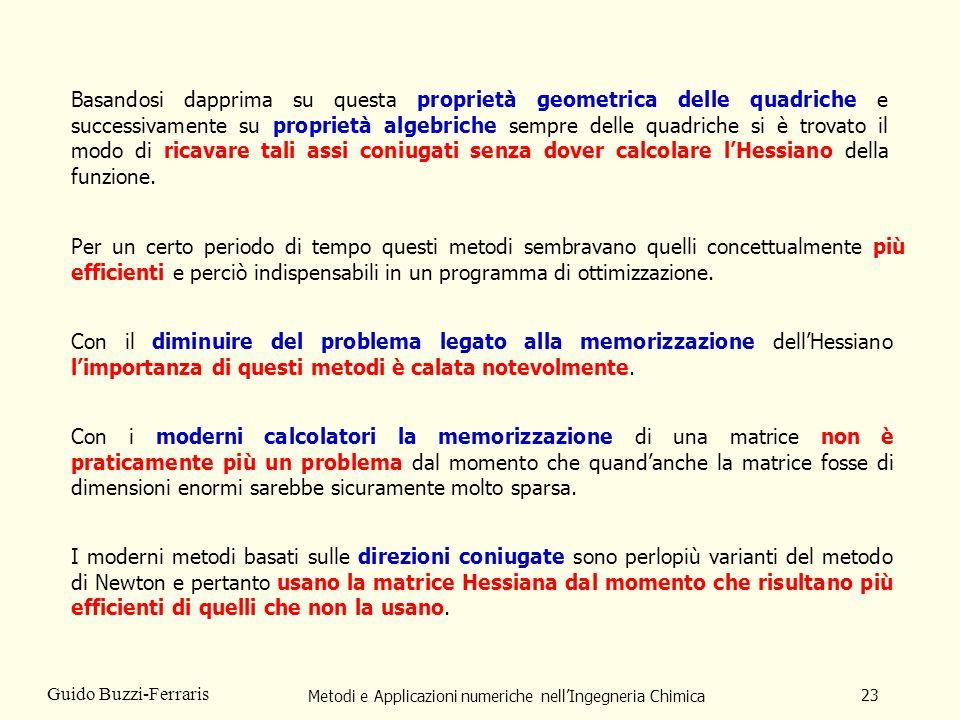 Metodi e Applicazioni numeriche nellIngegneria Chimica 23 Guido Buzzi-Ferraris Basandosi dapprima su questa proprietà geometrica delle quadriche e suc