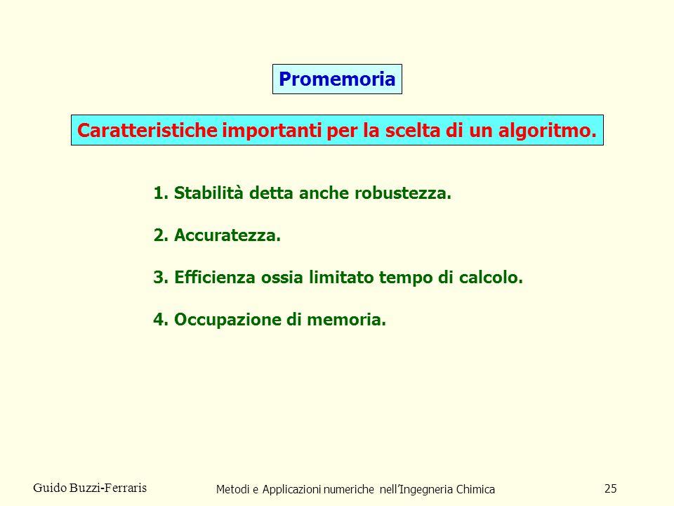 Metodi e Applicazioni numeriche nellIngegneria Chimica 25 Guido Buzzi-Ferraris Promemoria Caratteristiche importanti per la scelta di un algoritmo. 1.