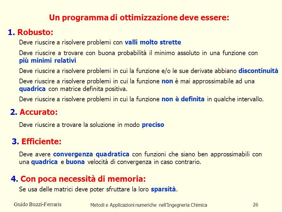 Metodi e Applicazioni numeriche nellIngegneria Chimica 26 Guido Buzzi-Ferraris Un programma di ottimizzazione deve essere: 1. Robusto: 2. Accurato: De