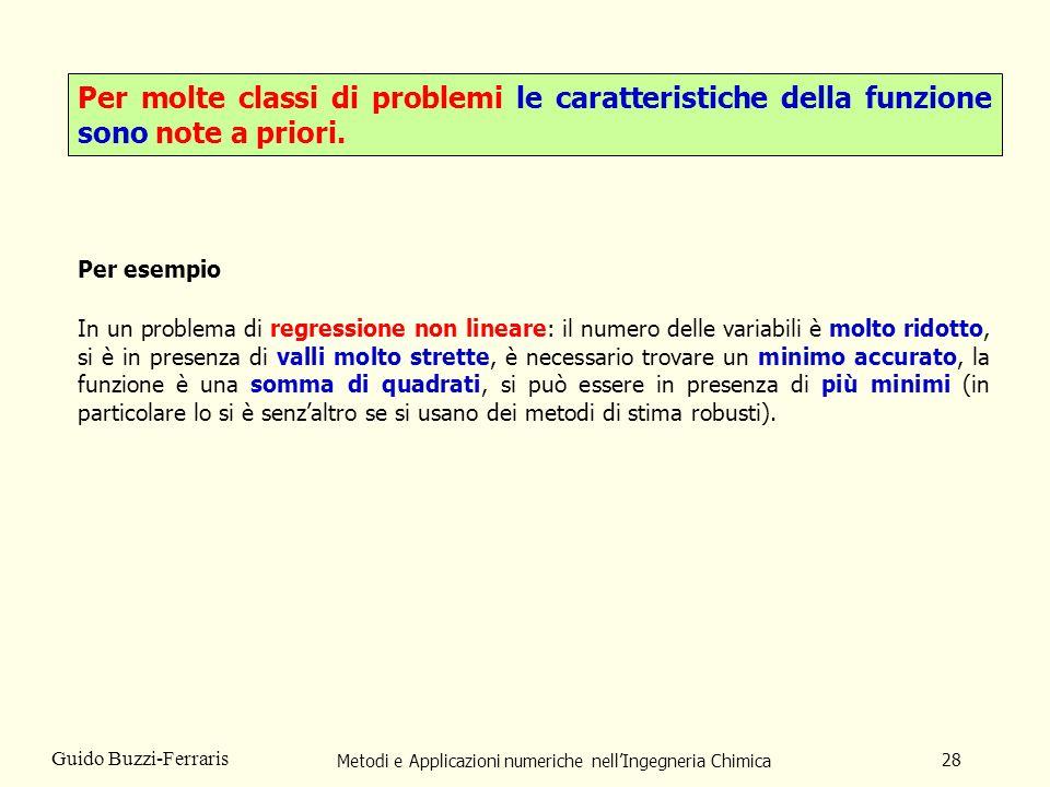 Metodi e Applicazioni numeriche nellIngegneria Chimica 28 Guido Buzzi-Ferraris Per molte classi di problemi le caratteristiche della funzione sono not