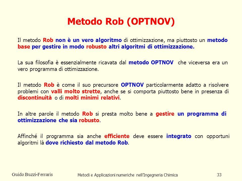 Metodi e Applicazioni numeriche nellIngegneria Chimica 33 Guido Buzzi-Ferraris Metodo Rob (OPTNOV) Il metodo Rob non è un vero algoritmo di ottimizzaz
