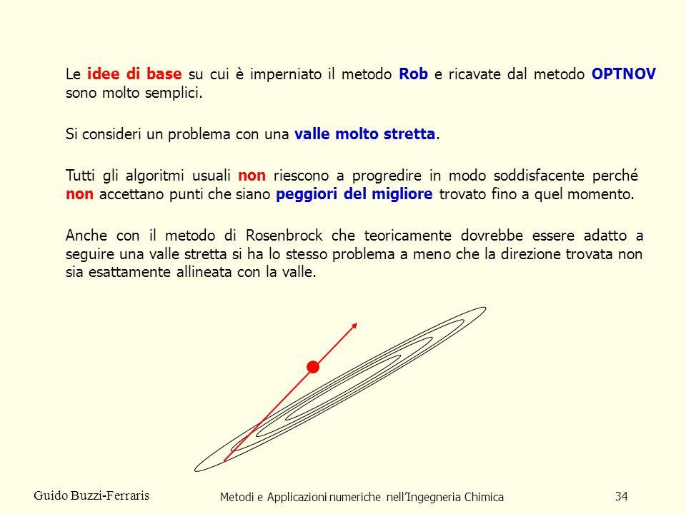 Metodi e Applicazioni numeriche nellIngegneria Chimica 34 Guido Buzzi-Ferraris Le idee di base su cui è imperniato il metodo Rob e ricavate dal metodo