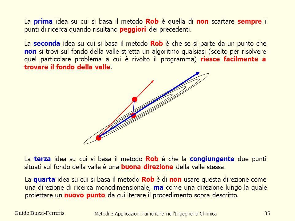 Metodi e Applicazioni numeriche nellIngegneria Chimica 35 Guido Buzzi-Ferraris La prima idea su cui si basa il metodo Rob è quella di non scartare sem