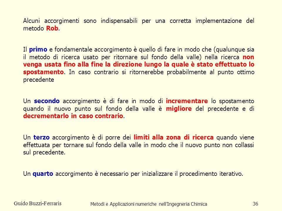 Metodi e Applicazioni numeriche nellIngegneria Chimica 36 Guido Buzzi-Ferraris Alcuni accorgimenti sono indispensabili per una corretta implementazion