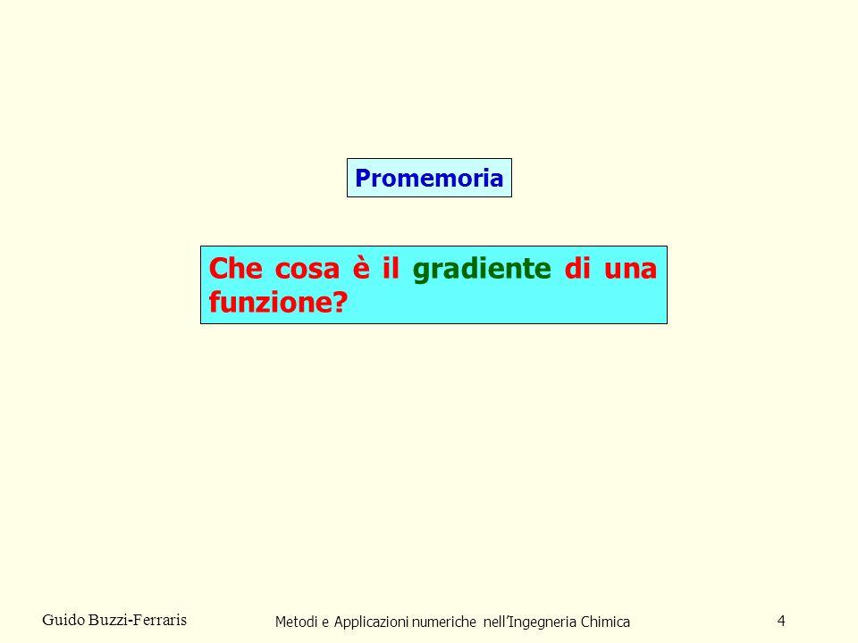 Metodi e Applicazioni numeriche nellIngegneria Chimica 5 Guido Buzzi-Ferraris Il gradiente di una funzione F(x) è il vettore, g, delle sue derivate prime.