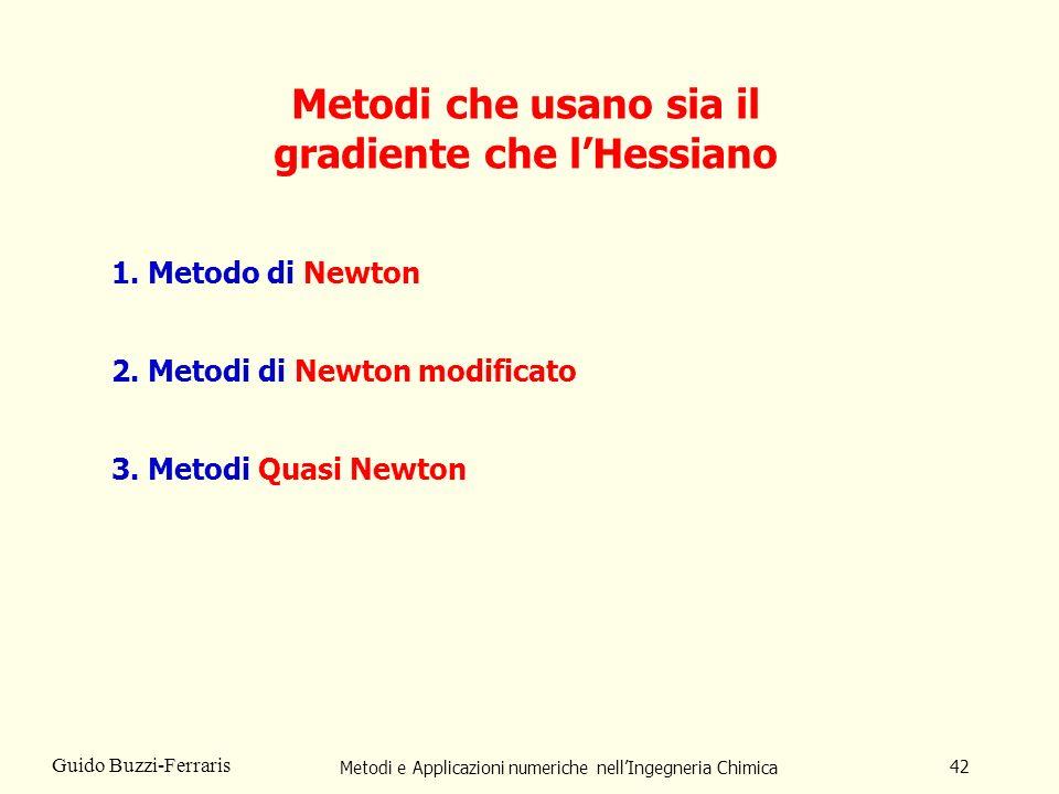 Metodi e Applicazioni numeriche nellIngegneria Chimica 42 Guido Buzzi-Ferraris Metodi che usano sia il gradiente che lHessiano 1. Metodo di Newton 2.