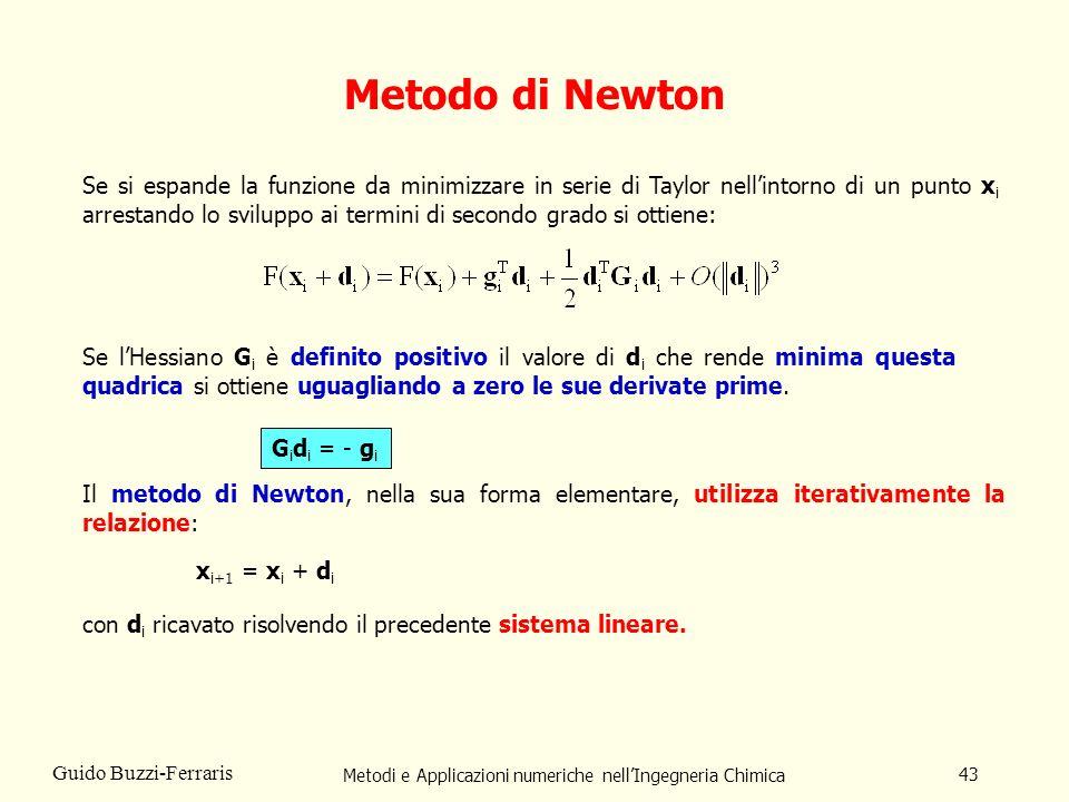 Metodi e Applicazioni numeriche nellIngegneria Chimica 43 Guido Buzzi-Ferraris Metodo di Newton Se si espande la funzione da minimizzare in serie di T