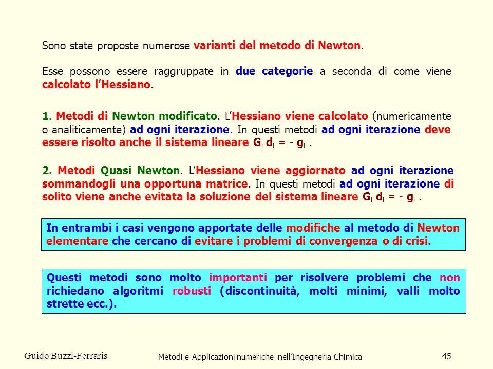 Metodi e Applicazioni numeriche nellIngegneria Chimica 45 Guido Buzzi-Ferraris Sono state proposte numerose varianti del metodo di Newton. Esse posson