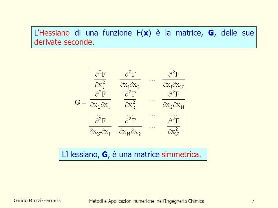 Metodi e Applicazioni numeriche nellIngegneria Chimica 7 Guido Buzzi-Ferraris LHessiano di una funzione F(x) è la matrice, G, delle sue derivate secon