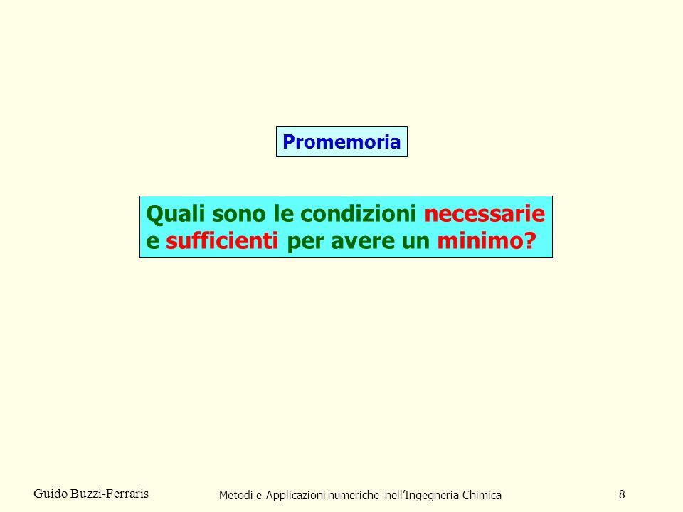 Metodi e Applicazioni numeriche nellIngegneria Chimica 9 Guido Buzzi-Ferraris Condizione necessaria affinché un punto x* sia un minimo: g(x*) = 0 Condizione sufficiente affinché un punto x* sia un minimo: La matrice Hessiana G(x*) deve essere definita positiva.
