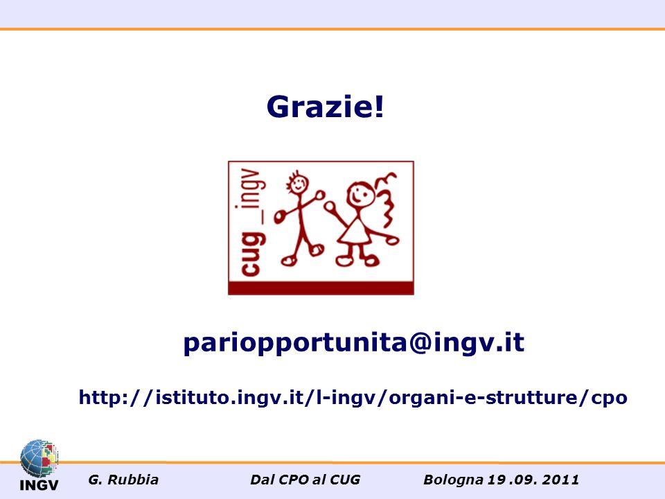 pariopportunita@ingv.it http://istituto.ingv.it/l-ingv/organi-e-strutture/cpo Grazie! G. Rubbia Dal CPO al CUG Bologna 19.09. 2011