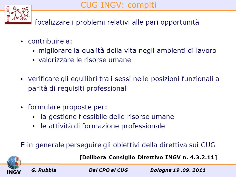 Il Comitato unico di garanzia.......ha compiti propositivi, consultivi e di verifica [Direttiva emanata dai Dipartimenti della Funzione Pubblica e per le Pari Opportunità 4.3.2011 sulle modalità di funzionamento dei CUG, G.U.