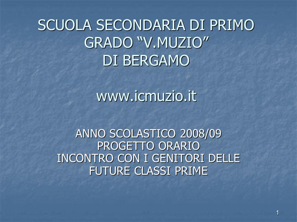 1 SCUOLA SECONDARIA DI PRIMO GRADO V.MUZIO DI BERGAMO www.icmuzio.it ANNO SCOLASTICO 2008/09 PROGETTO ORARIO INCONTRO CON I GENITORI DELLE FUTURE CLAS