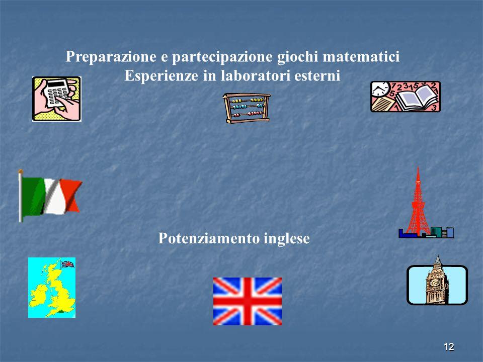 12 Preparazione e partecipazione giochi matematici Esperienze in laboratori esterni Potenziamento inglese