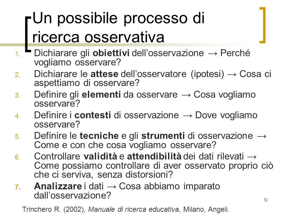12 Un possibile processo di ricerca osservativa 1. Dichiarare gli obiettivi dellosservazione Perché vogliamo osservare? 2. Dichiarare le attese dellos