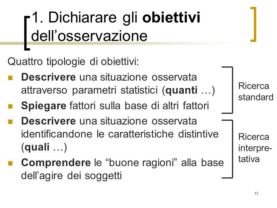 13 1. Dichiarare gli obiettivi dellosservazione Quattro tipologie di obiettivi: Descrivere una situazione osservata attraverso parametri statistici (q