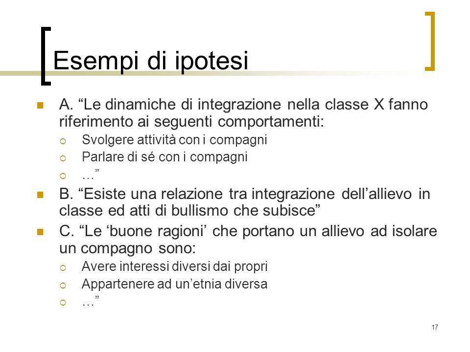 17 Esempi di ipotesi A. Le dinamiche di integrazione nella classe X fanno riferimento ai seguenti comportamenti: Svolgere attività con i compagni Parl