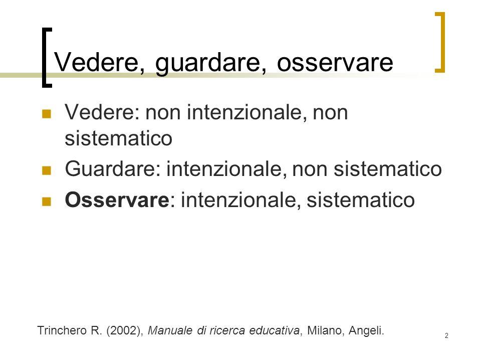 2 Vedere, guardare, osservare Vedere: non intenzionale, non sistematico Guardare: intenzionale, non sistematico Osservare: intenzionale, sistematico T