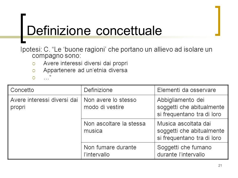 21 Definizione concettuale Ipotesi: C. Le buone ragioni che portano un allievo ad isolare un compagno sono: Avere interessi diversi dai propri Apparte