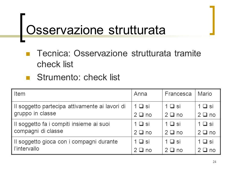 24 Osservazione strutturata Tecnica: Osservazione strutturata tramite check list Strumento: check list ItemAnnaFrancescaMario Il soggetto partecipa at
