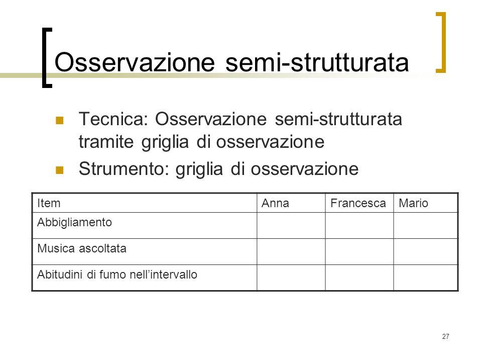 27 Osservazione semi-strutturata Tecnica: Osservazione semi-strutturata tramite griglia di osservazione Strumento: griglia di osservazione ItemAnnaFra