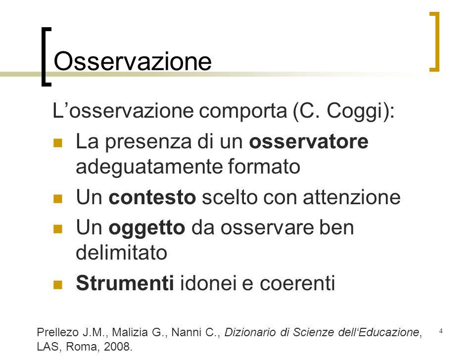 4 Osservazione Losservazione comporta (C. Coggi): La presenza di un osservatore adeguatamente formato Un contesto scelto con attenzione Un oggetto da