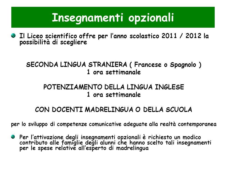 Insegnamenti opzionali Il Liceo scientifico offre per lanno scolastico 2011 / 2012 la possibilità di scegliere SECONDA LINGUA STRANIERA ( Francese o S