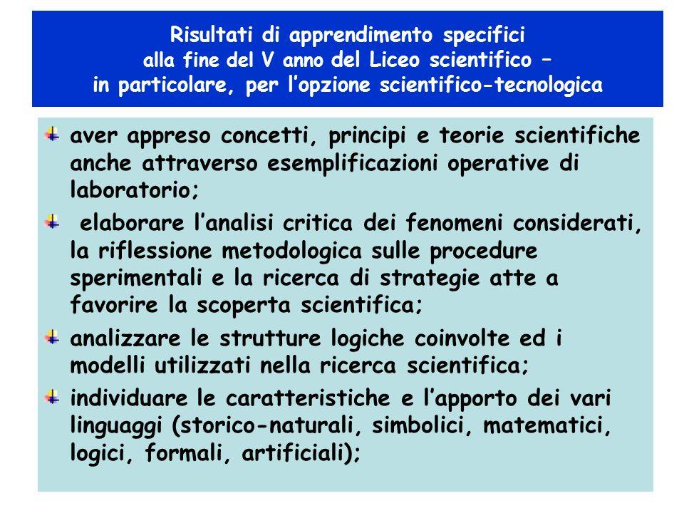 aver appreso concetti, principi e teorie scientifiche anche attraverso esemplificazioni operative di laboratorio; elaborare lanalisi critica dei fenom