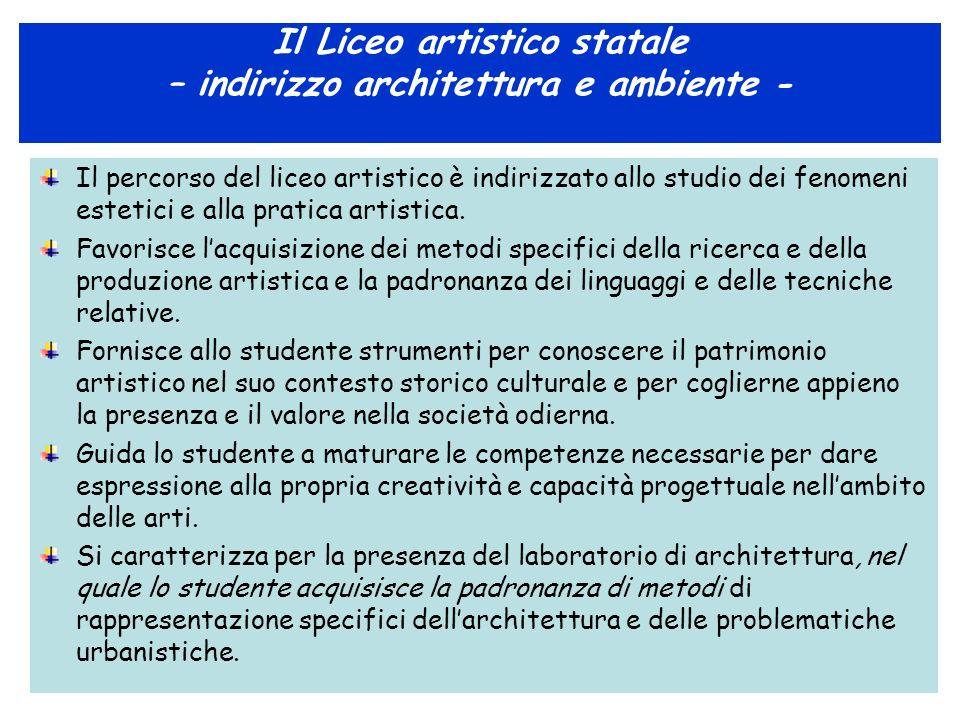 Il Liceo artistico statale – indirizzo architettura e ambiente - Il percorso del liceo artistico è indirizzato allo studio dei fenomeni estetici e all